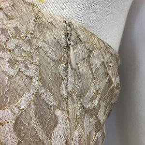 Ann Taylor Dresses - Ann Taylor Gold Lace Sweetheart Neckline Dress 6
